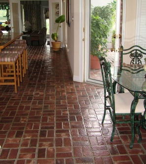 Example of brick utilized as interior flooring.