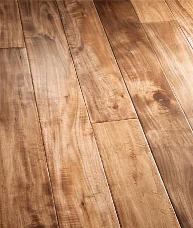 Rubber flooring that looks like hardwood planks.