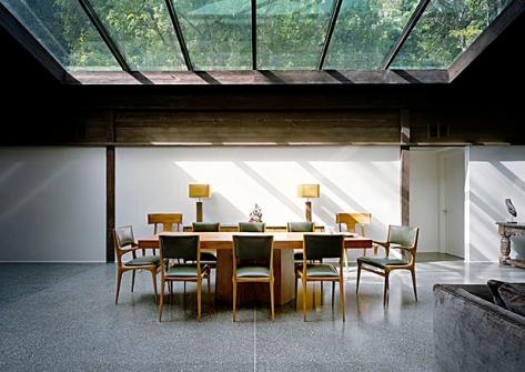 Mid-century, modern dining area with terrazzo floor.