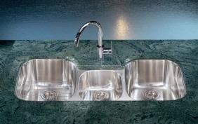 Triple bowl stainless steel sink.