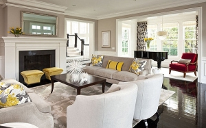 Sample of room with natural light and yellow accents