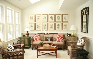 Sample of feature wall with framed print collection
