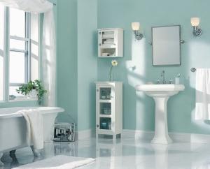 Soothing pastel bathroom