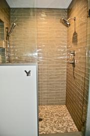 Tiled, walk-in shower